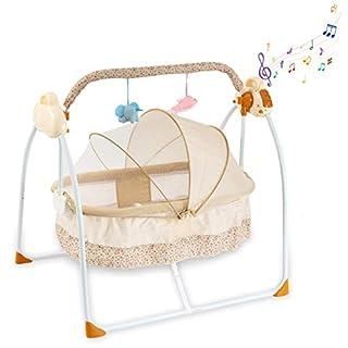 Baby Cradles Bedside Bassinet - Portable Crib Easy to Assemble Rocking Bassinet with Breathable Net Detachable Washable Mattress Foldable Design Lightweight Baby Bassinet and Newborns Bassinet, Khaki
