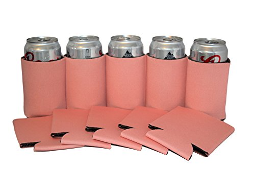 Premium Blank Can Coolers Sleeves Soft Drink Collapsible Insulator Coolers (25, Coral)