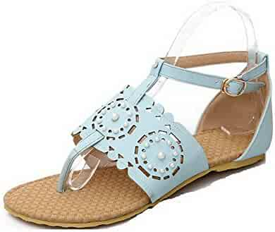 7eaaf2383c78 WeiPoot Women s Soft Material Buckle Split Toe No-Heel Solid Flip-Flop- Sandals