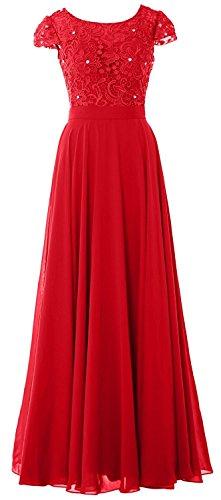 Partykleider Damen Festkleider Tanzenkleider Abendkleider Rot Chiffon Elegant Beonddress Rundkragen Applikation Lang WwfcA00q4S