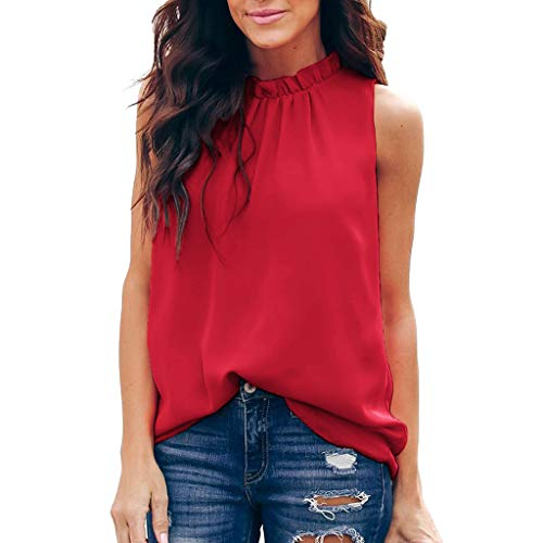 (POHOK Floral Blouses for Women Women Summer Pleated Solid Sleeveless Casual Tunic Top Tank Shirt Vest(L,Red))