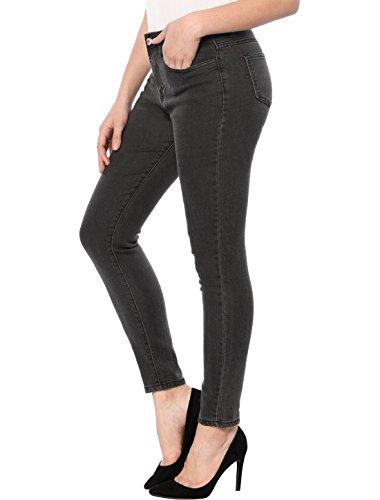 Allegra K Jeans Pantalones Vaqueros Ajustados Para Mujer De Altura Media Dril De Algodón Lavado Gris