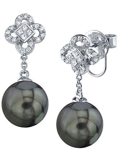 18k South Sea Pearl Earrings (18K Gold Tahitian South Sea Cultured Pearl & Diamond Mia Earrings)