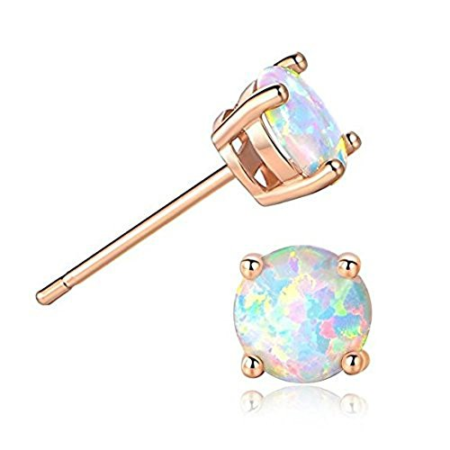(Sterling .925 Stamped Ethiopian Opals Basket Setting Stud Earrings (White/Rose Gold))