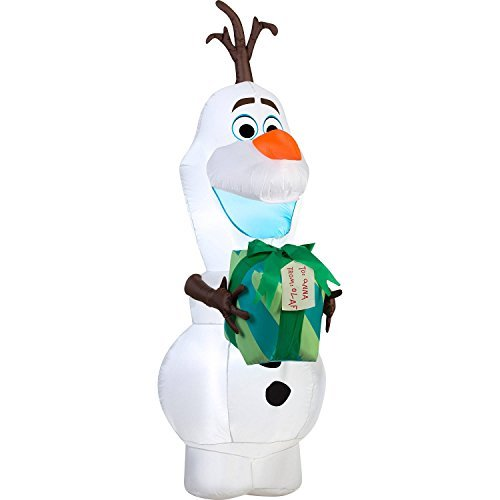 Christmas Disney Olaf with Gift Airblown Yard Decor Airblown Inflatable, 5.5' ()