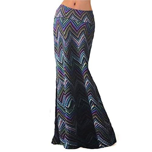 de87326066968 80%OFF Oberora Womens Vintage Printed Fold Over High Waist Long Maxi Skirt