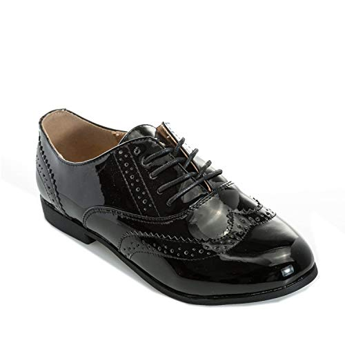 Collection Truffle Noir Brogues Femme Patent Chaussures Udd68Anx