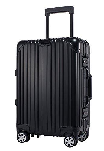 CHUWIT 24inch/ Aluminum HardShell Luggage Case Carry On Spinner Suitcase (black)