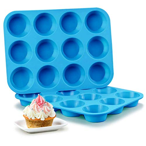 Silicone Muffin Pan Set - 2 pack Cupcake Pans 12 Cups Silicone Baking Molds,BPA Free 100% Food Grade, Pinch Test Approved