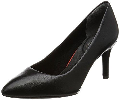 Rockport TOTAL MOTION 75MM HEEL PLAIN PUMP - Zapatos de vestir de Piel para mujer Negro Schwarz (BLACK LEA) 35 EU