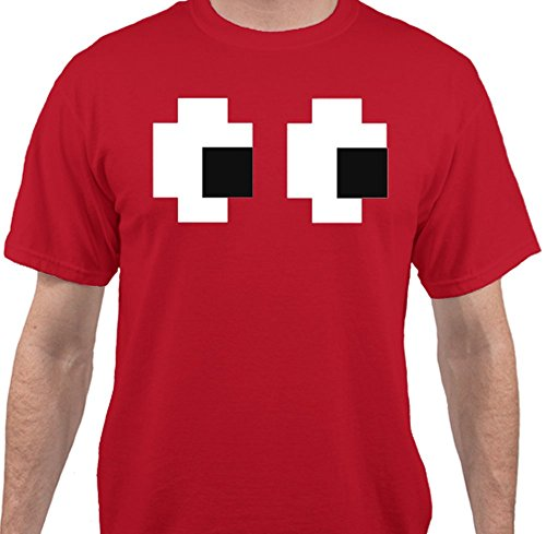 Sweet Tees Pac Man Ghost Halloween T-Shirt by Trade; - Red - 2XLarge