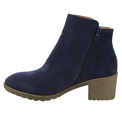 DE02 Daily Side Plain Beston Heel Wear Women's Zipper Navy Ankle Booties Stacked 6npWqqYdg0