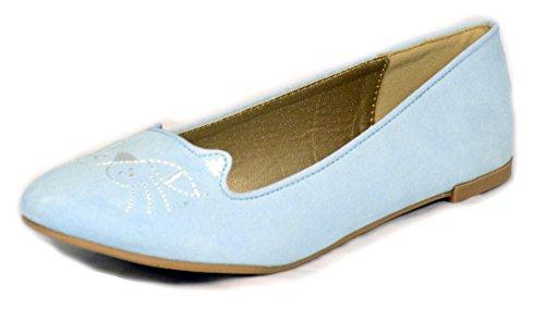 Qupid Women's Salya Ballerina Slip On Kitty Cat Flats,6.5 B(M) US,Light Blue