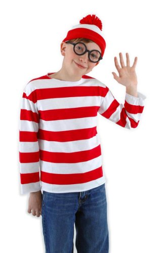 Where's Waldo Costume Kids (elope Where's Waldo Kid's Large/X-Large Costume Kit)