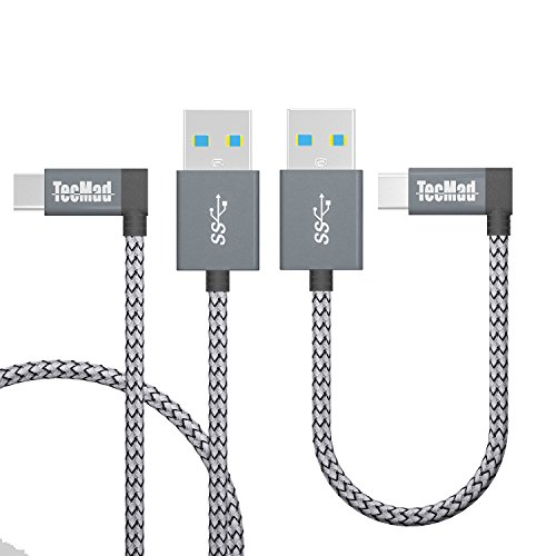 (USB c Cable TecMad 90 Degree Plug Nylon Braided Type C to USB 3.0 Cable for new MacBook, Nexus 5X, Samsung s8 Plus,Nintendo Switch,LG V30, V20,Nexus 5X/6P,DJI Mavic Pro Drone and More-0.8ft+3.9ft Grey)