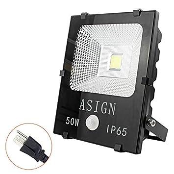 ASIGN LED Floodlight 50W, Hidden Integrated Motion Sensor Worklight, 300W Halogen Light Equivalent Super Bright IP65 Waterproof Outdoor Light for Driveway Garage Security-6000k Daylight White