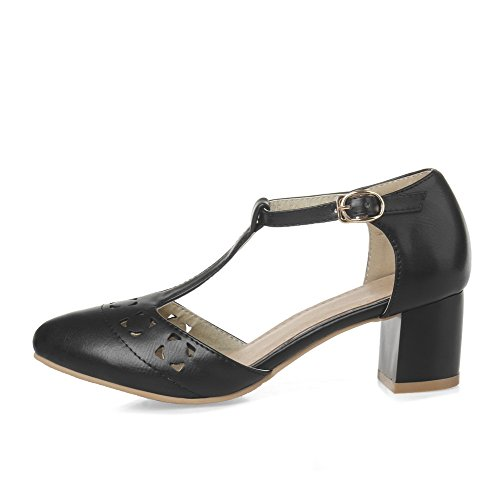 Heels PU Sandals Closed Solid Women's Black Buckle WeenFashion Pointed Toe Kitten zYFHqnxw