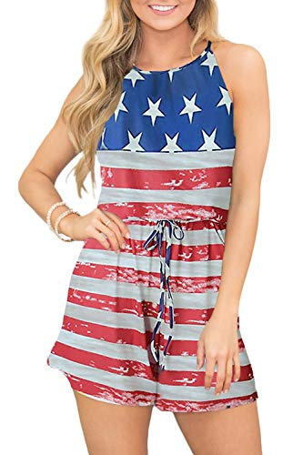 July 4th Women Cotton Halter Romper Sleeveless Short Pants Beach Jumpsuit American Flag L
