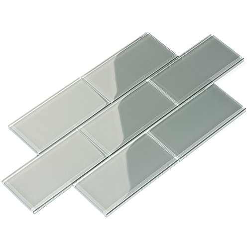 Glass Subway Backsplash Tile, 3 x 6, True Gray, Case of 44 Tiles