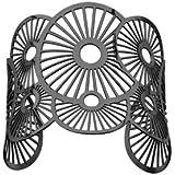 1001 Bijoux - Bracelet acier PVD noir manchette motif soleils