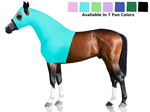 (Derby Originals Lycra Stretch Horse Hoods with Zipper - Multiple Colors and Sizes (Large, Caribbean Blue))