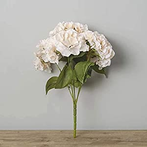 Jasion Artificial Flowers Hydrangeas Flowers 5 Big Heads Silk Bouquet for Office Home Party Decoration (Champagne) 2