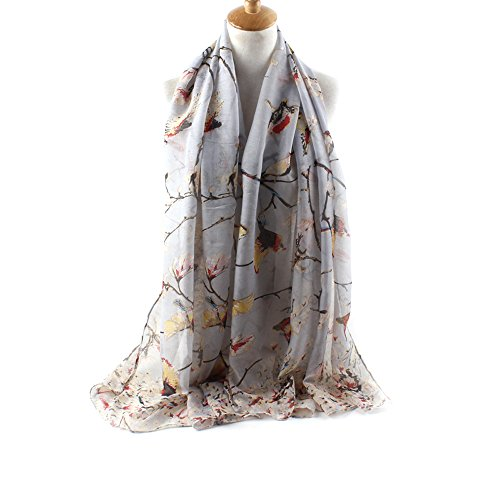 ctshow Spring birds Print Voile Print Scarf Fashionable Women Scarves shawl (Spring Fashionable)