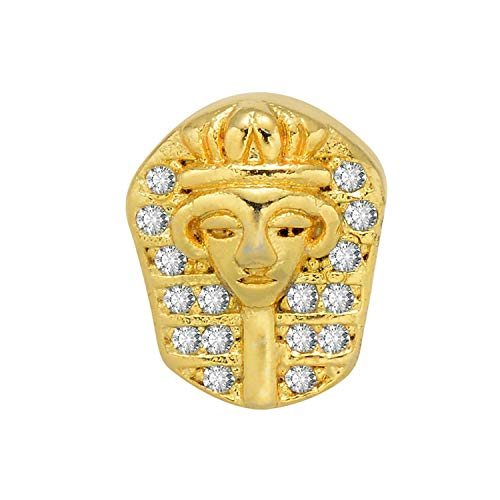 Zircon Pharaoh Statue Copper Beads for DIY Bracelets Making Gold/Rose Gold/Black Plating Metal Jewelry Beads,Gold Plating -