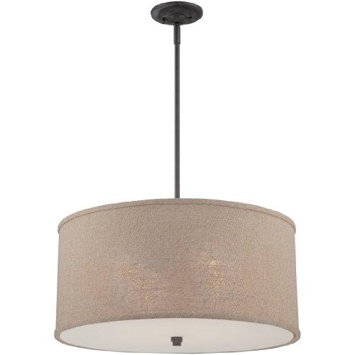 - Quoizel CRA2822MC Cloverdale Drum Pendant Lighting, 4-Light, 400 Watts, Mottled Cocoa (12