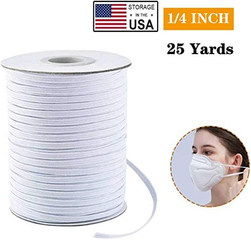 25 Yards 1/4 inch Wide Elastic String for Masks Elastic Cord for Sewing Flat Elastic Strap Elastic Bands for Sewing DIY Crafts (White)