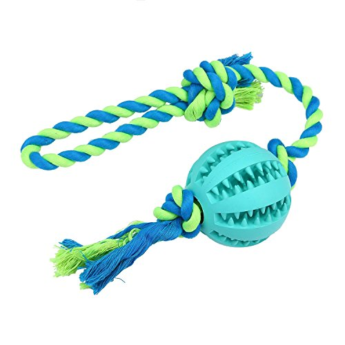 niceeshop(TM) Dog Rope Chew Toys with Ball Indestructible Dental Treat Bite Resistant Durable Soft Rubber for Pet IQ Training/Playing/Chewing