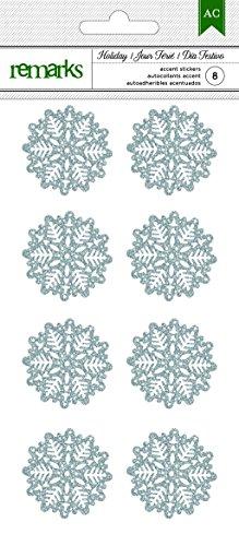 Snowflake Glitter Stickers - American Crafts 8 Piece Christmas Silver Glitter Snowflakes Stickers