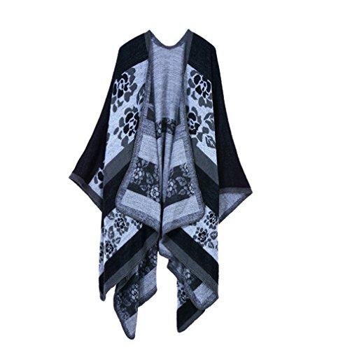 Style Echarpes Cardigans Acvip Châle Poncho Taille Manteau 130 Femme 150cm Capes Mode Hiver 5 Epais wXqUBYOqx