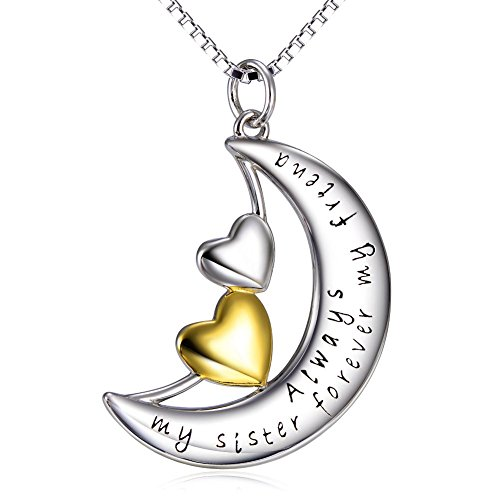 "SILVER MOUNTAIN Sterling Silver ""Always My Sister Forever My Friend"" Moon Double Love Heart Pendant Necklace, 18"""