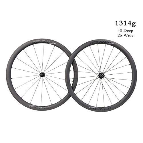 ICAN AERO 40 Superlight 1314g Carbon Road Bike Wheels 40mm Deep Clincher Tubeless Ready with Straight Pull Hub 18/24 Holes