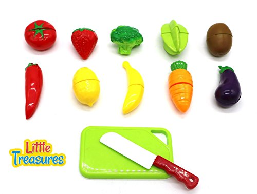 Little Food Toys : Little treasures kids play cutting fruits and vegies toy