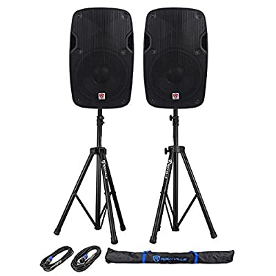"""2 Rockville SPGN158 15"""" Passive 1600W ABS Plastic PA Speakers+Stands+Cables+Bags from Rockville"""