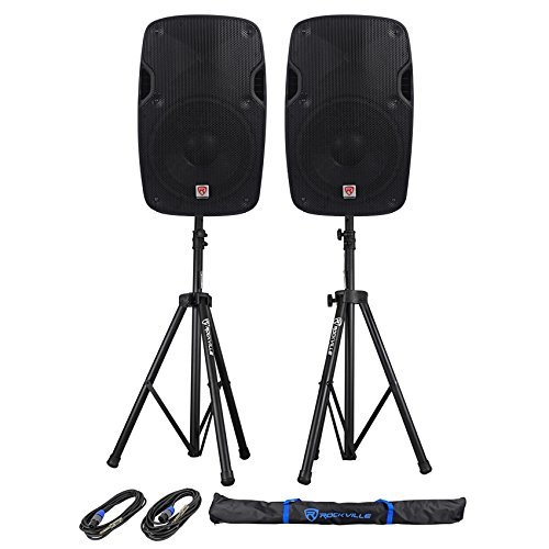 2 Rockville SPGN158 15'' Passive 1600W ABS Plastic PA Speakers+Stands+Cables+Bags by Rockville