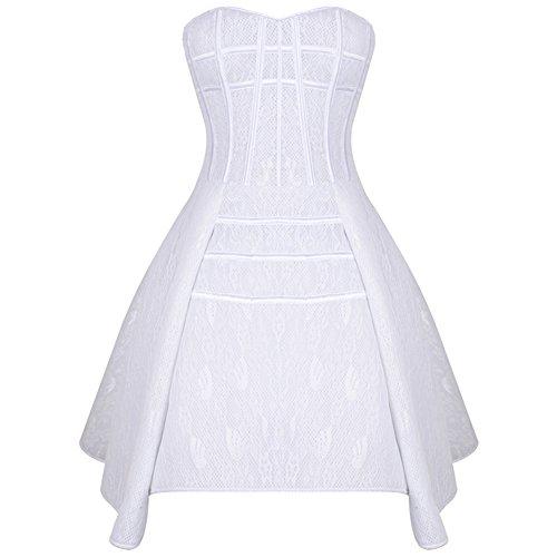 ZAMME Vestido nupcial de Bustiers del corsé burlesco de la boda gótica de las mujeres Blanco
