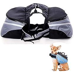KGAQ Pet Large Dog Bag Carrier Backpack Saddle Bags Dog Travel Large Capacity Bag Travel Hiking Camping,Gray,L