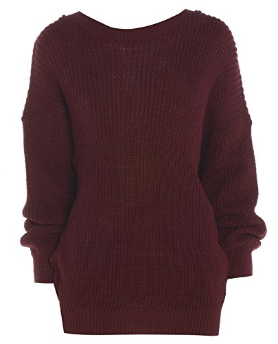 Ladies Womens gran tamaño Baggy Plain – Ovillo de jersey de punto grueso de punto largo Top Jumper UK 8 –�?4 Wine