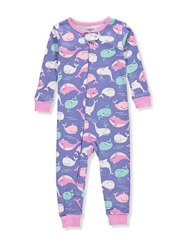 Carter's Baby Girls' 1-Piece Snug Fit Cotton Footless Pajamas (Whale Print, 12 Months)