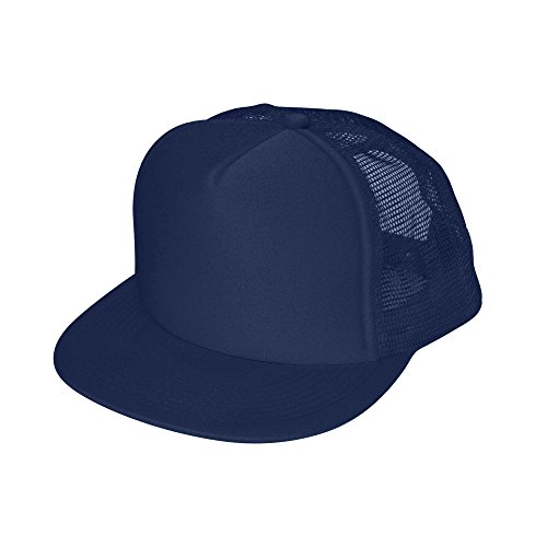 (DALIX Flat Billed Trucker Cap With Mesh Back in Navy)