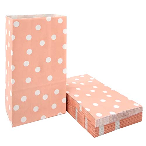 50 PCS Pink Kraft Paper Bags Polka Dot Favor Bags for Snack Nuts Goodie Treat Bags for Kids' Birthday Wedding Party Favor Bags (5.1 x 3.1 x 9.4 in Pink)]()