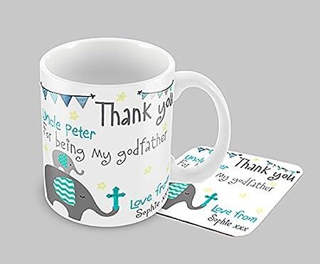 Hiros®Personalised Godfather Gift - Elephant Themed Mug and Coaster ...