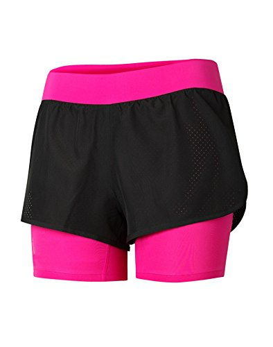 Champion Gear Women`s New Two-In-One Shorts, M0917T, S, Black/Pinksicle (Champion 1 Womens Shorts Mesh)