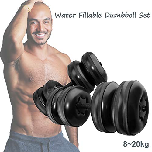 Water Filled Dumbbells Barbells Pair, 20-40KG Adjustable Travel Dumbbell Barbell Weight Set, 2 in 1 Free Weights…