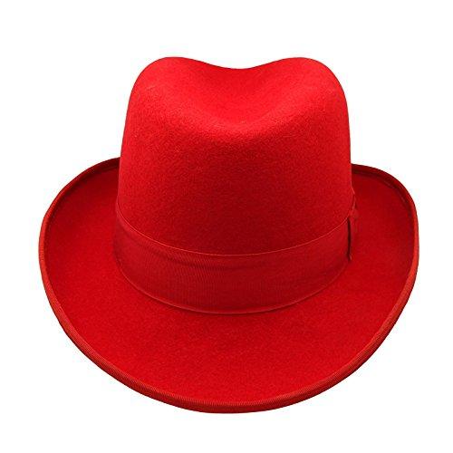 0f7b6a7d666 HATsanity Unisex Vintage Wool Felt Homburg Hat Red - Buy Online in ...