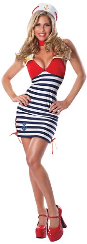 Delicious Sassy Sailor Costume, Blue/Red/White, (Red Sailor Costume)