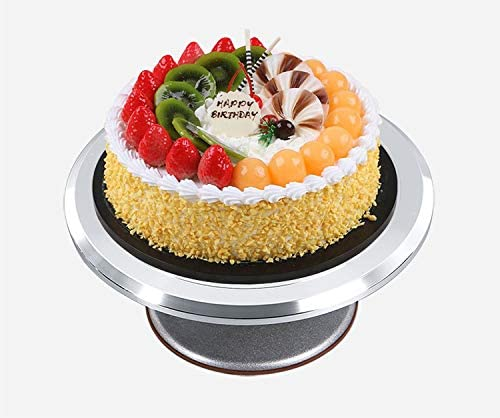 12'' Cake Decorating Turntable for Cakes and Desserts. Aluminum Alloy Construction with Smooth bearing and Non-slipping Silicone Bottom.